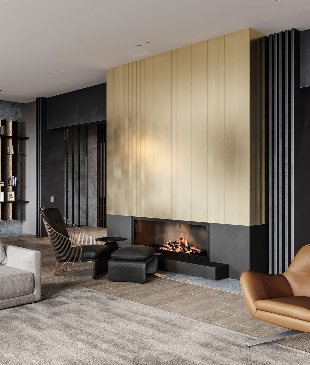 Captivating Modern Glamour In Grey, Gold And Green Home