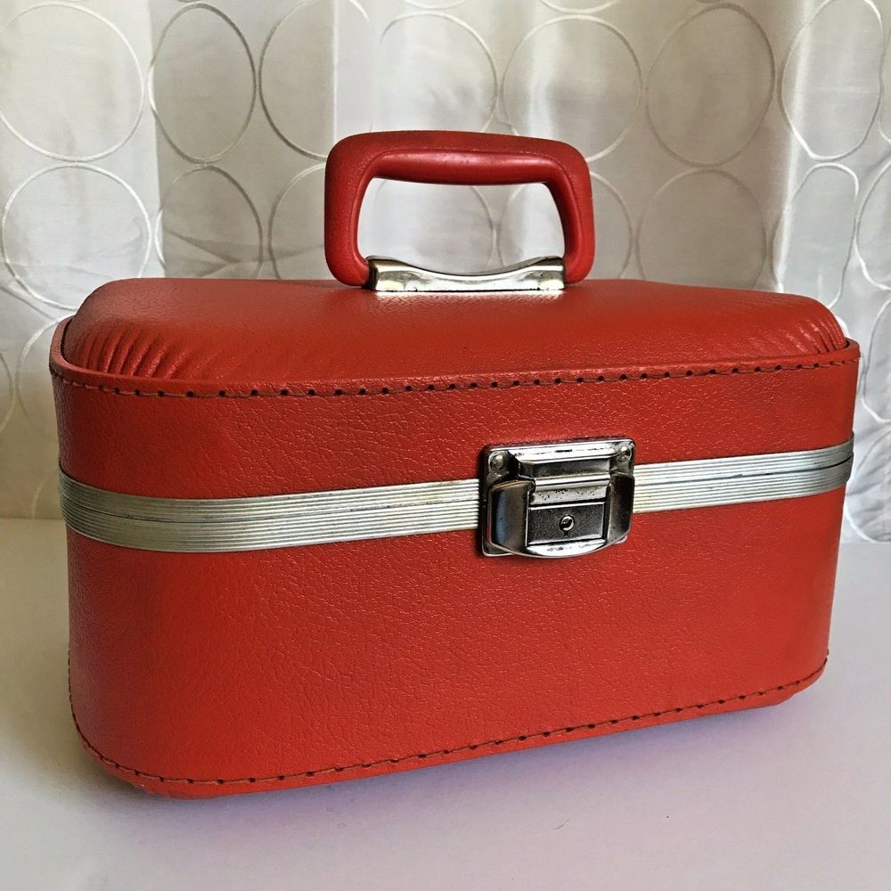 Vintage Hard Sided Orange Train Case Overnight Bag Makeup
