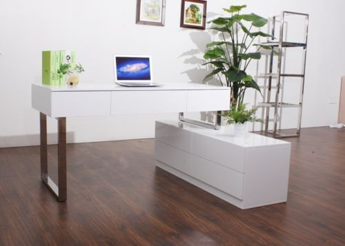 KD12 Modern White Lacquer Office Desk With Chrome Legs | Office ...