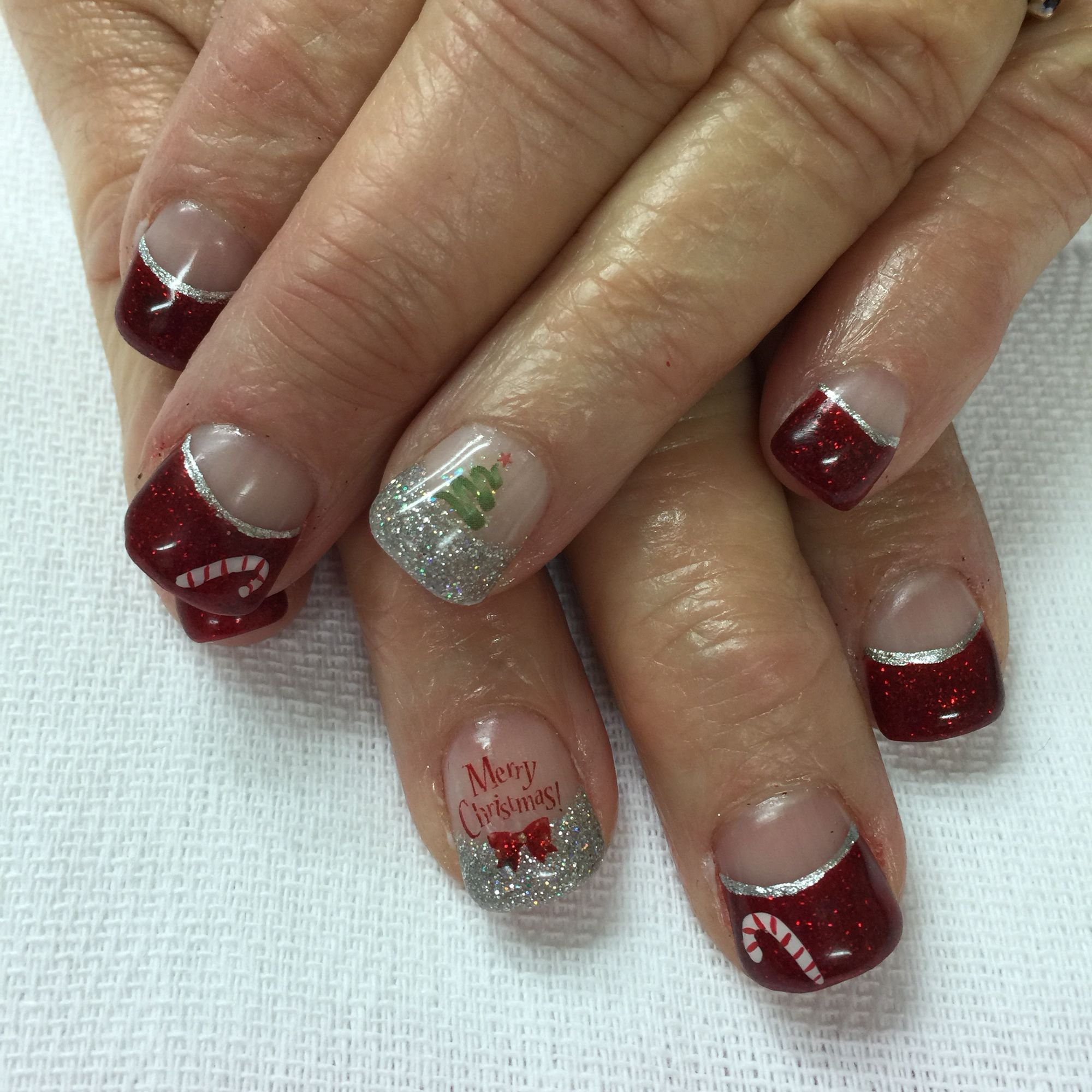 Red and silver Christmas High French gel nails with candy cane, tree ...