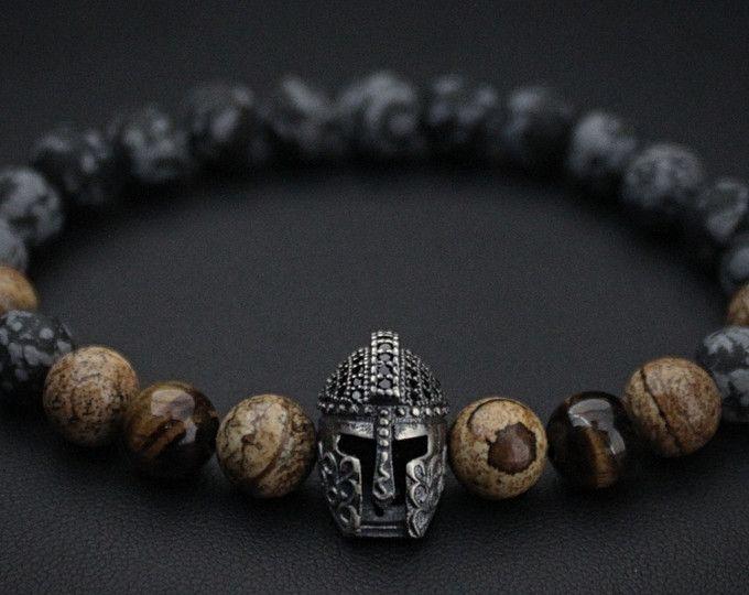 49ec2ee055dd 925 plata esterlina Pulsera Spartan, mens Onyx pulsera, pulsera ...