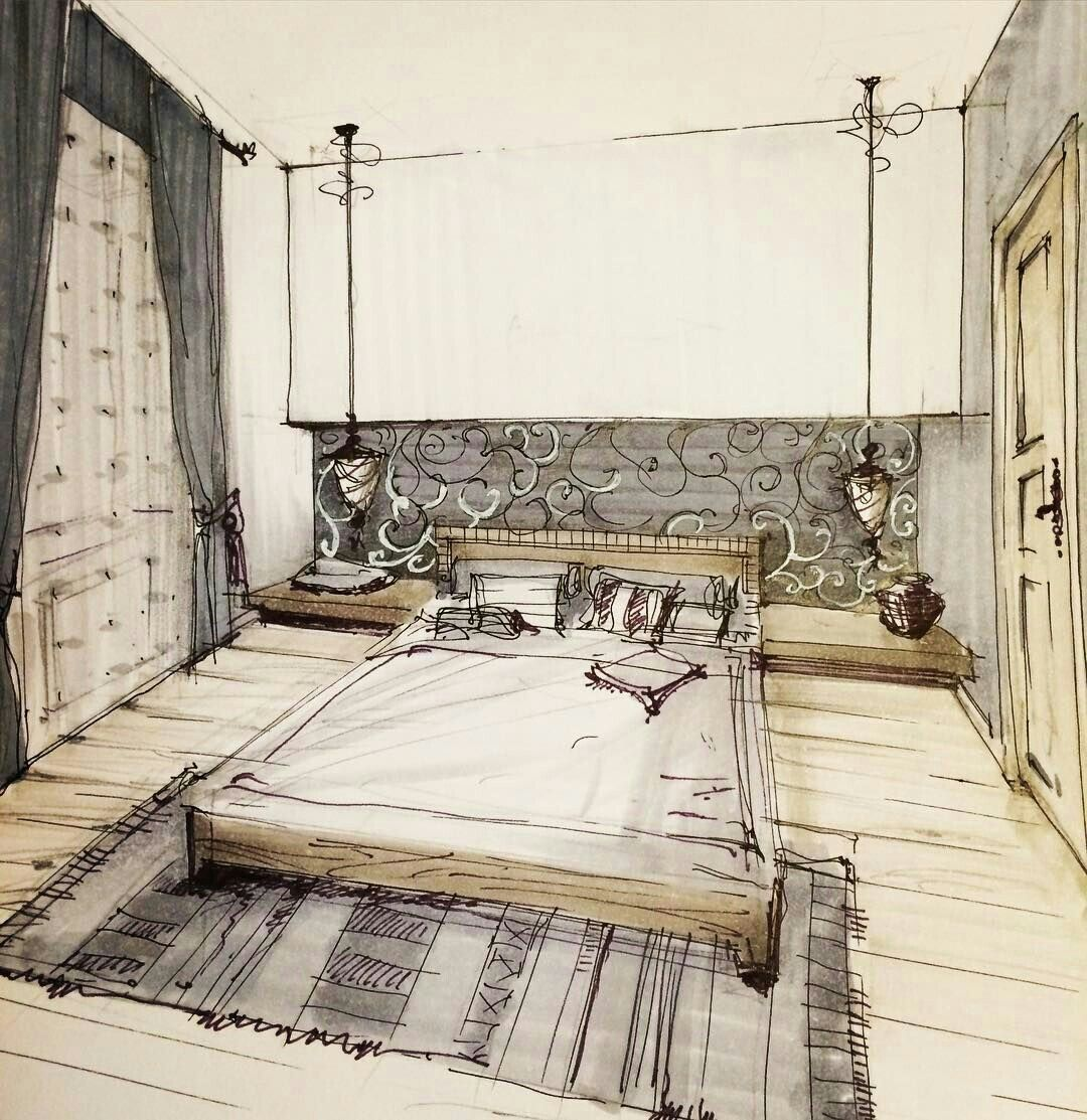Chambre interior sketch pinterest bocetos for Decorador virtual hogar