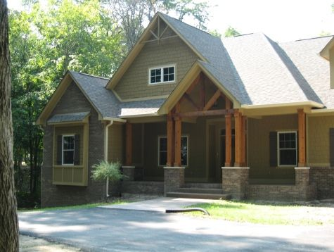 Houses With Stained Porches | Custom Home, Custom Home Exterior Entrance,  Stained Wood Columns