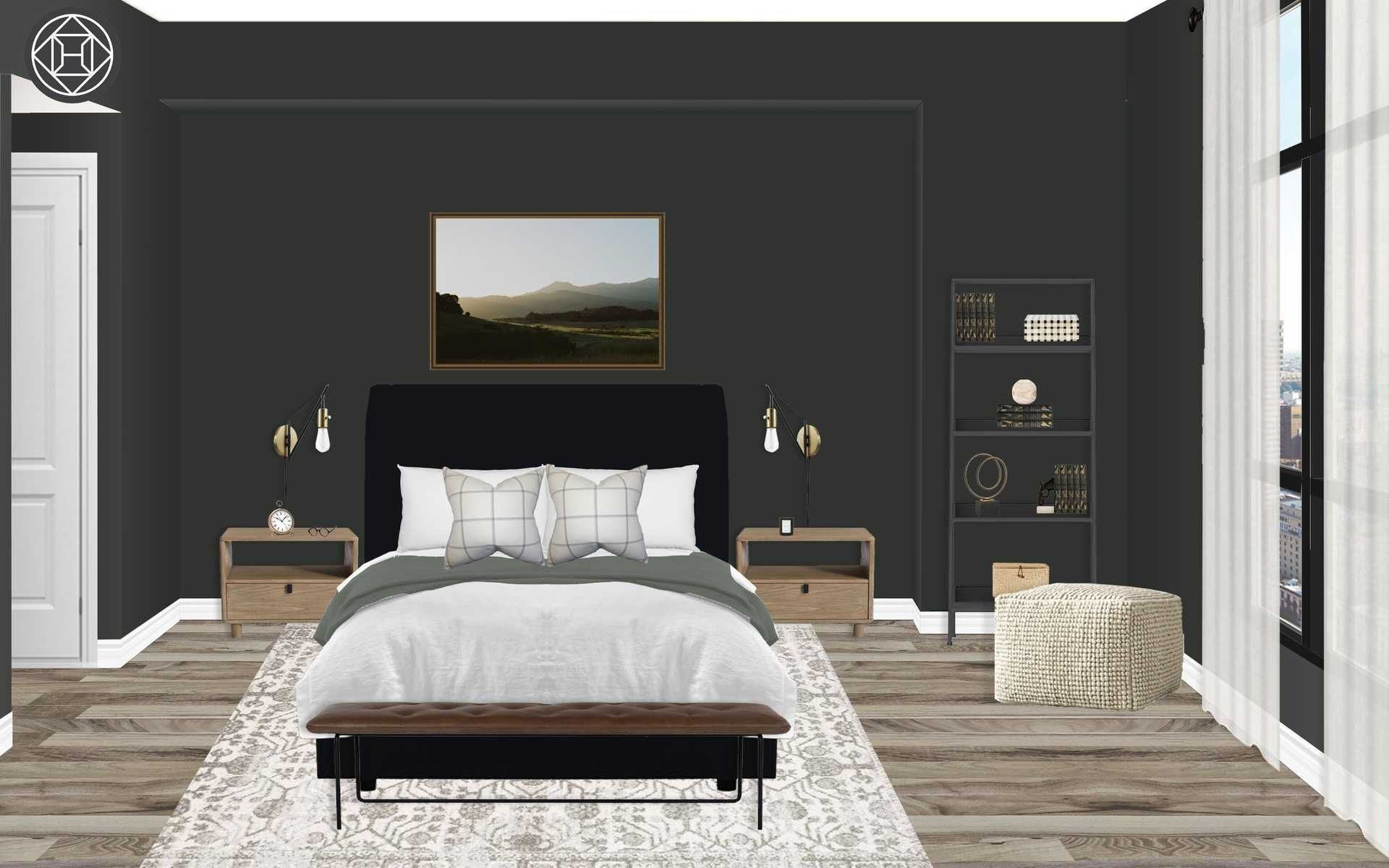 Modern Farmhouse Transitional Room Design By Havenly Interior Designer Victoria Transitional Bedroom Design Interior Design Online Interior Design