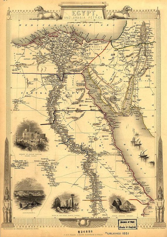 Egypt and Arabia 1851 Antique world maps Old by mapsandposters ...