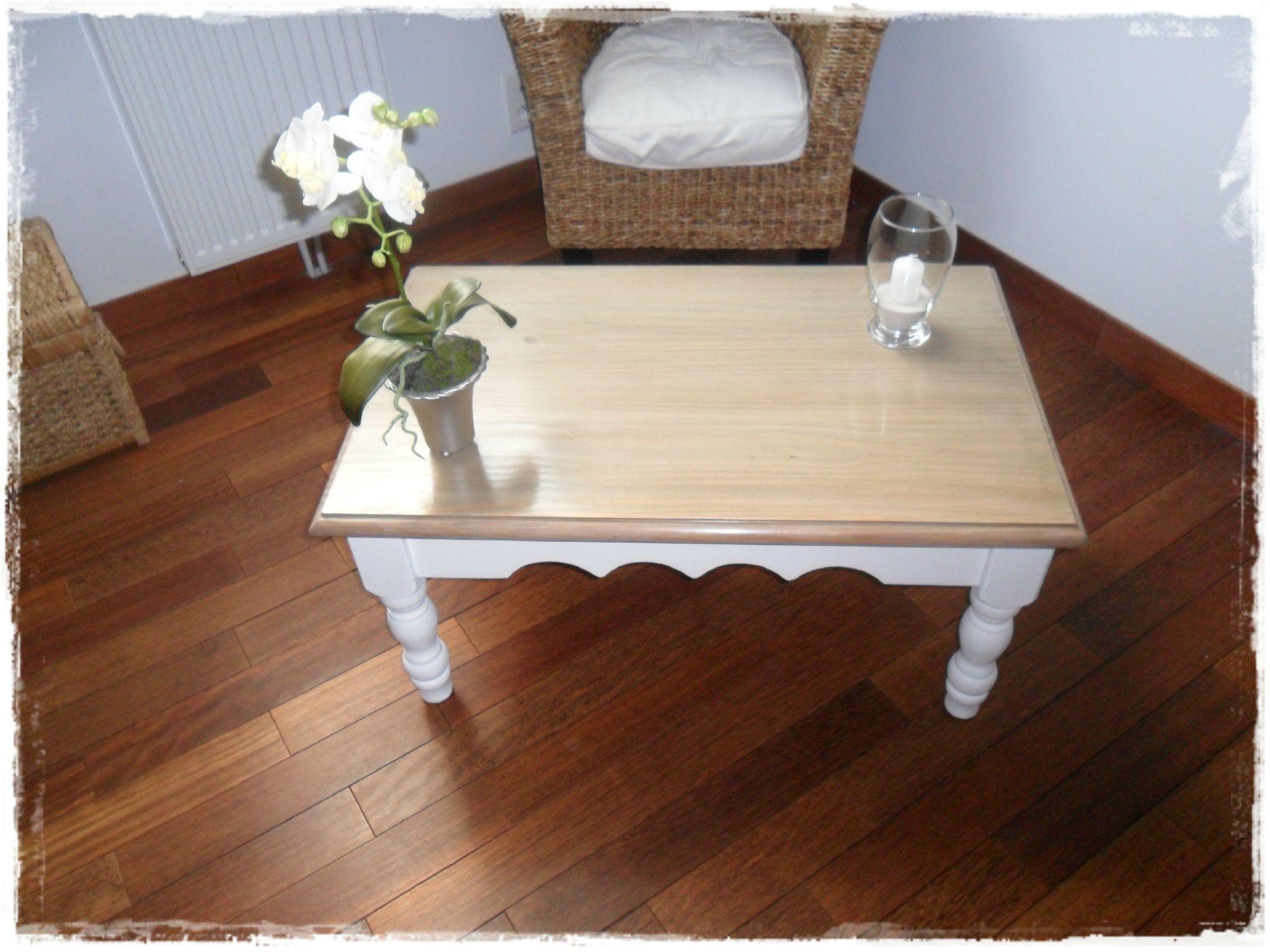 Nouveau look pour table en pin broc et patine le grenier de sara chalet moderne table en - Peinture pour meuble en pin ...