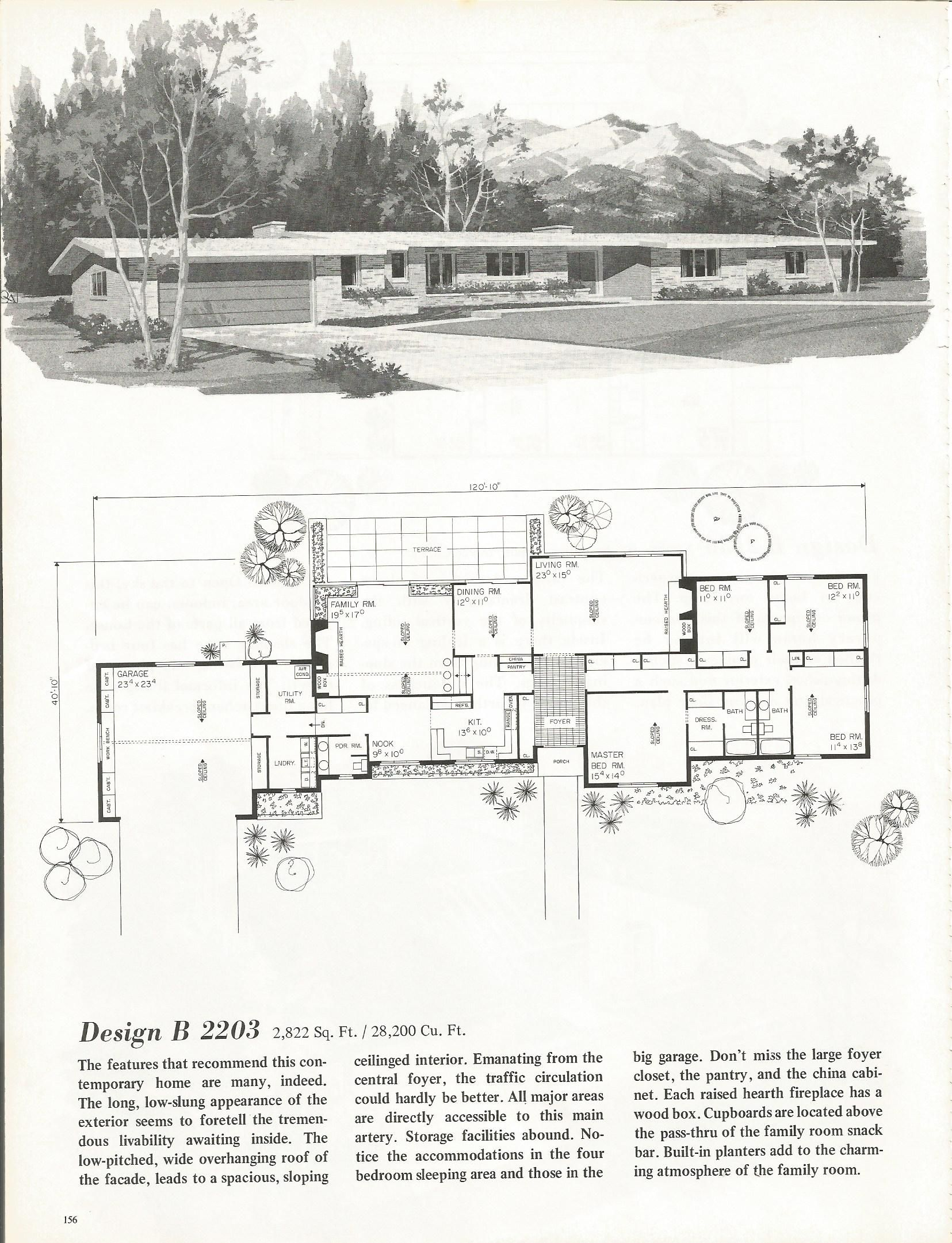 Vintage house plans mid century homes 1960s homes mid for Mid century floor plans