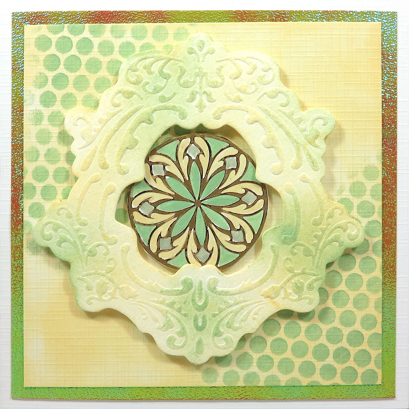 Green and yellow Mandalistick Peel-off's card with Paper Add-ons frame