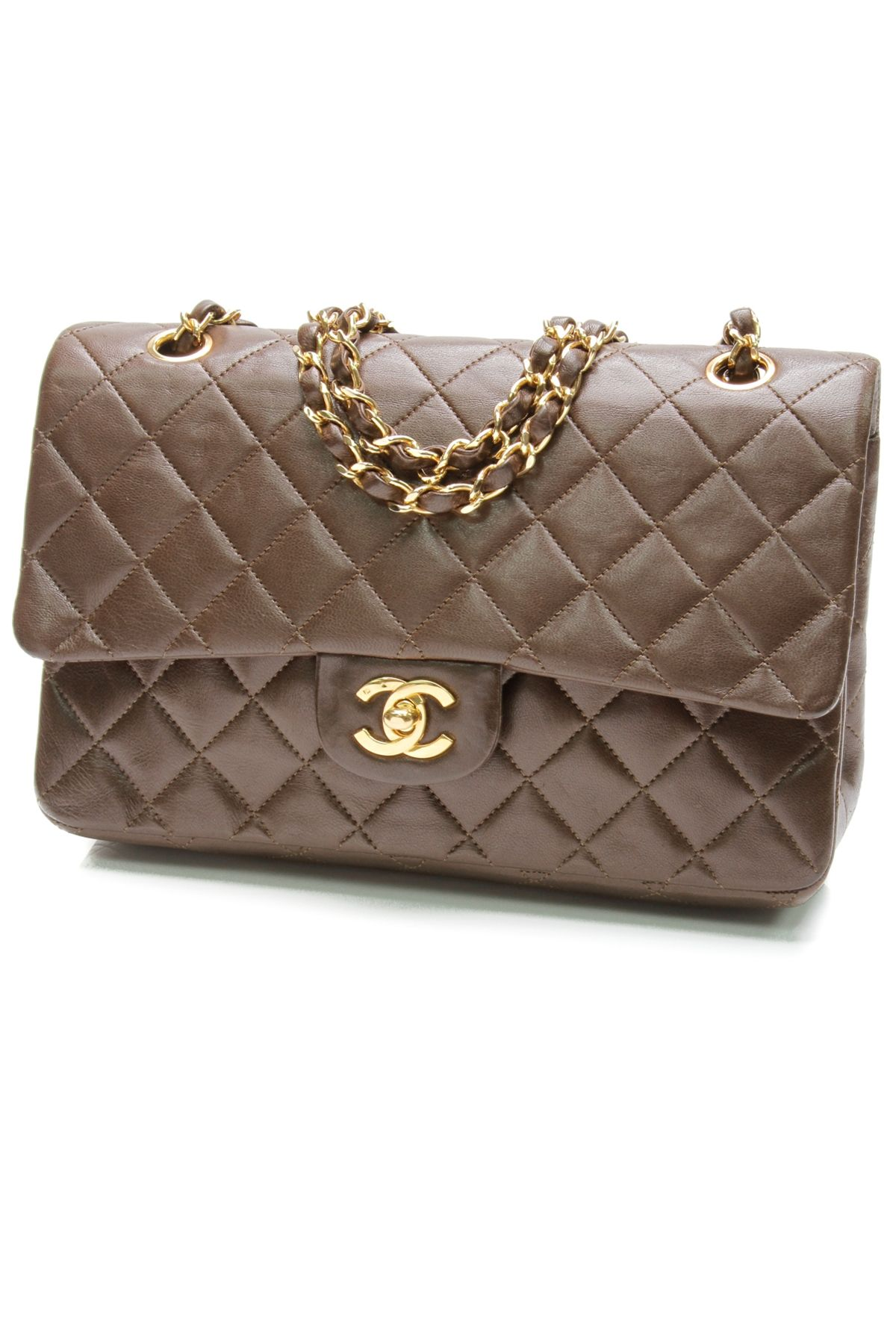 Chanel Vintage Brown Quilted Lambskin Classic Medium Double Flap Bag ... f61f9ef3a2666