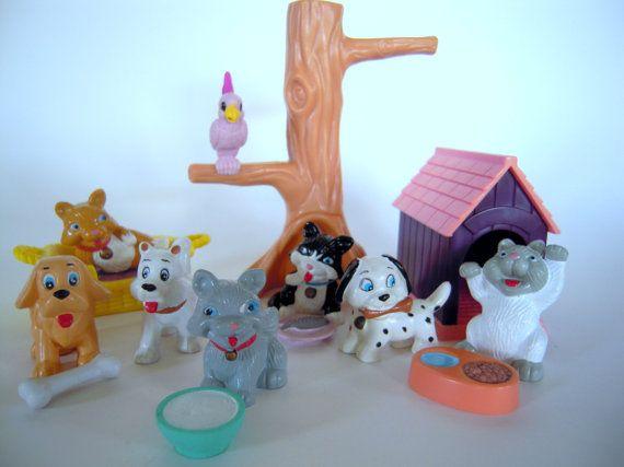 Vintage Jasman Toys Miniature Pets Dog And Cat Playset Littlest