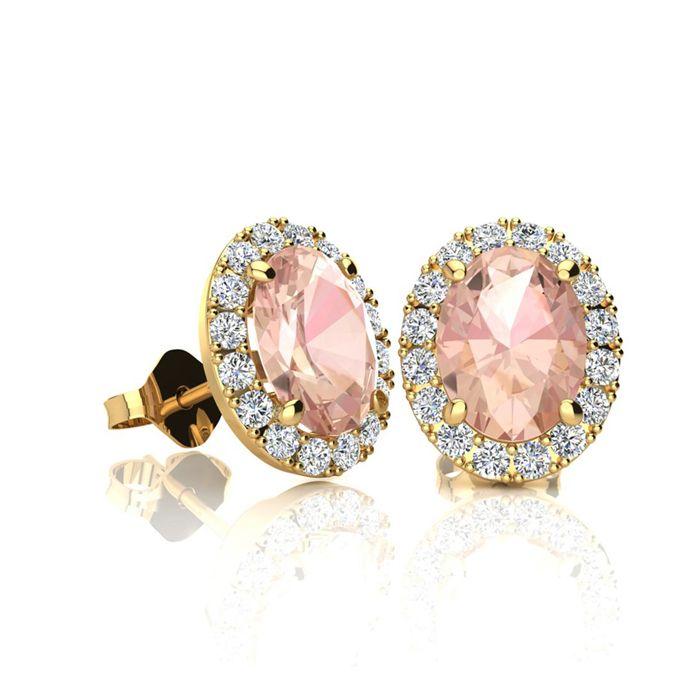 83de54007 2 Carat Oval Shape Ruby and Halo Diamond Stud Earrings In 14 Karat Rose Gold  in 2019 | Jewelry | Diamond studs, Stud Earrings, Earrings