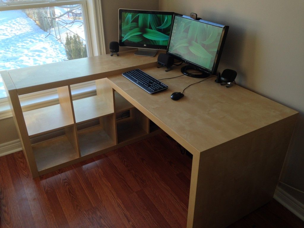 Ikea Desk Expedit Hack Ikea Desk Hack Ikea Desk Ikea Desk Top