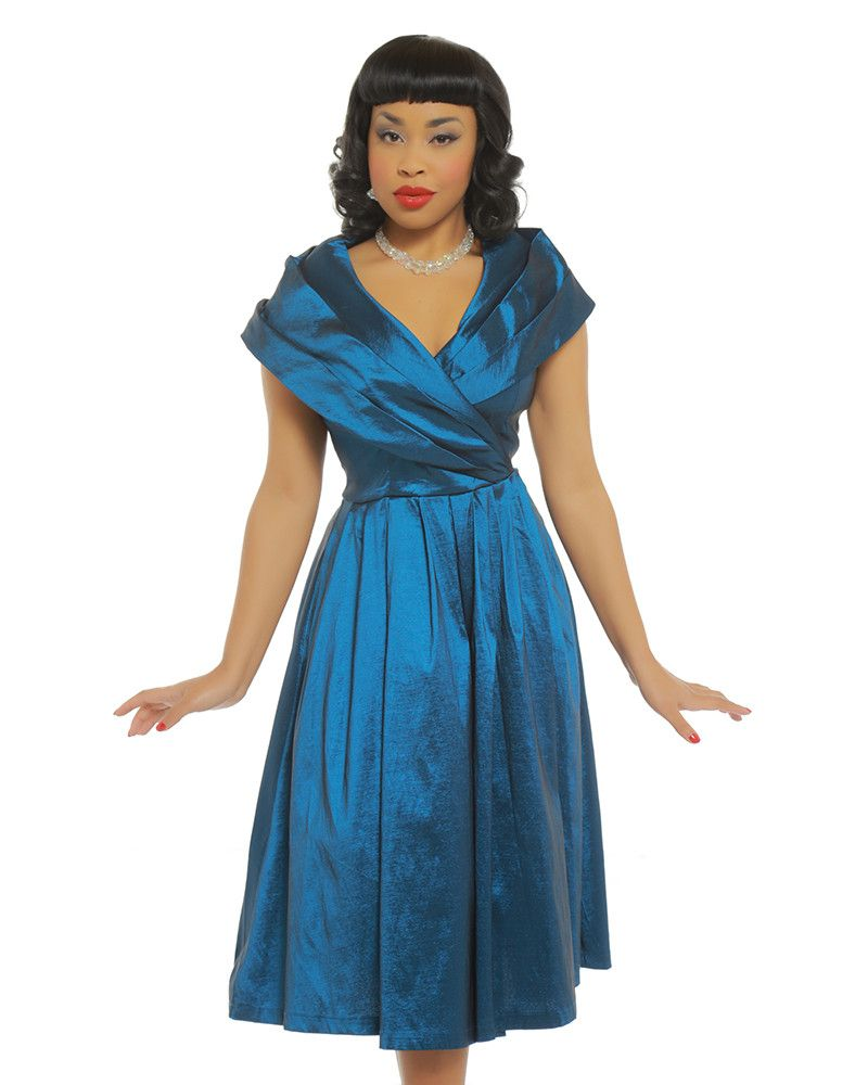 a03263dddba2d Amber Blue Occasion Swing Dress | Vintage Style Fashion - Lindy Bop