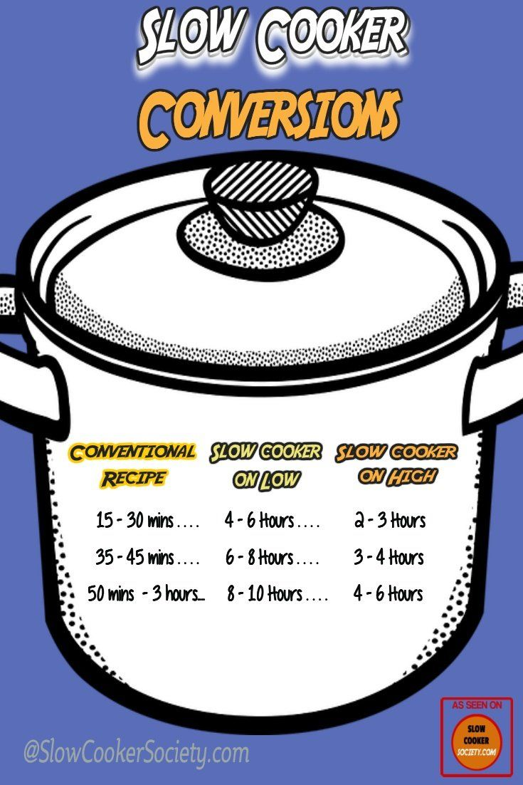 Crock Pot Time Conversion Conventional To Slow Cooker Slowcookersociety Slow Cooker Stove Top Recipes Delicious Slow Cooker Recipes