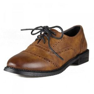 9f8207c0101d Ladies-Vintage-FAUX-Leather-Round-Toe-Lace-Up-Brogues-Womens-Riding-Shoes- oxford