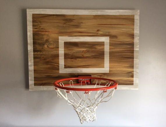 Wood Basketball Hoop Backboard Farmhouse Style Rim Wall Etsy Repisas De Madera Canasta De Basquetbol De Madera