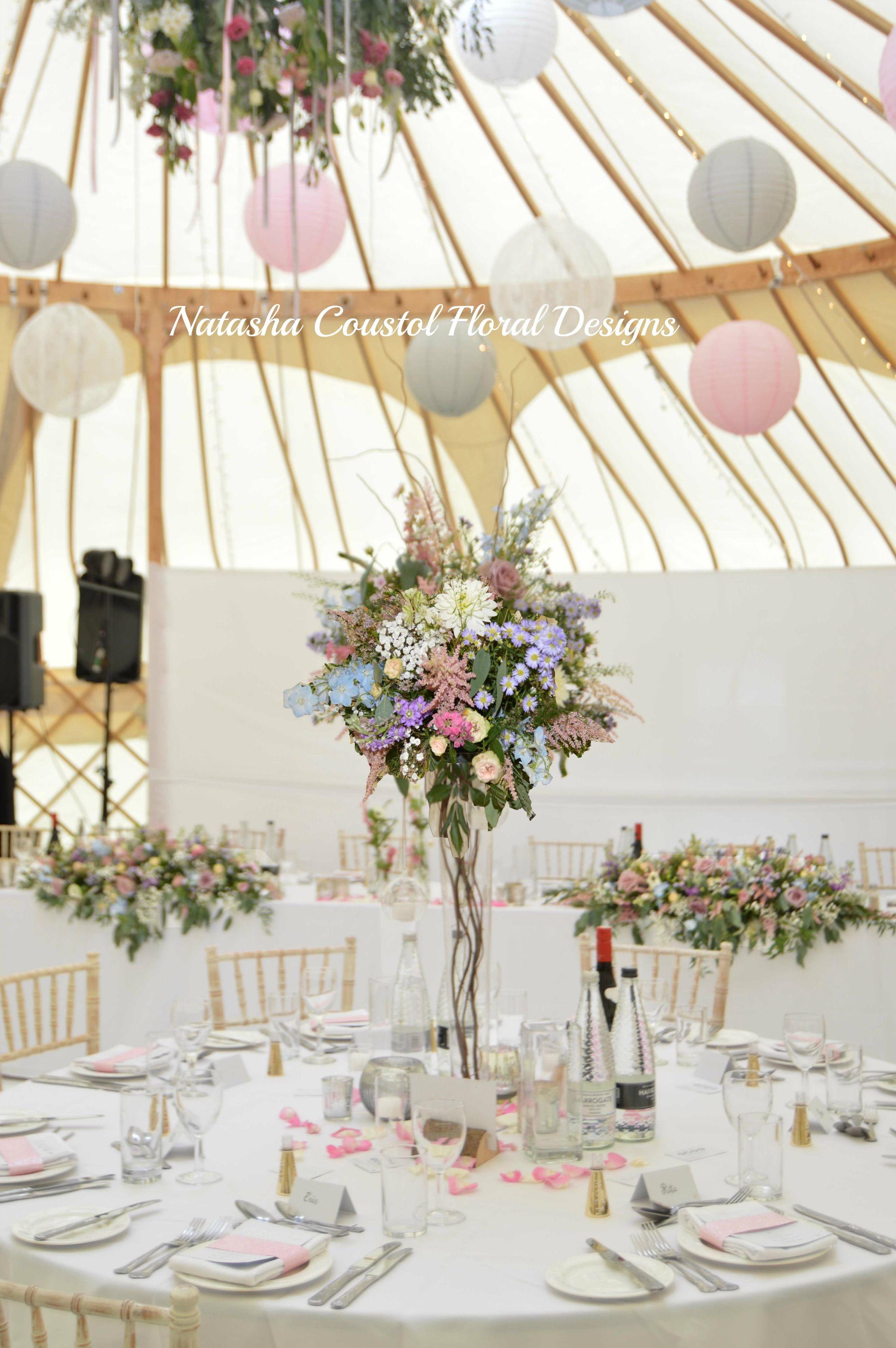 Yurt Tall Flower Centerpiece Rustic Country Garden Wedding Flowers Ball Of Pastel