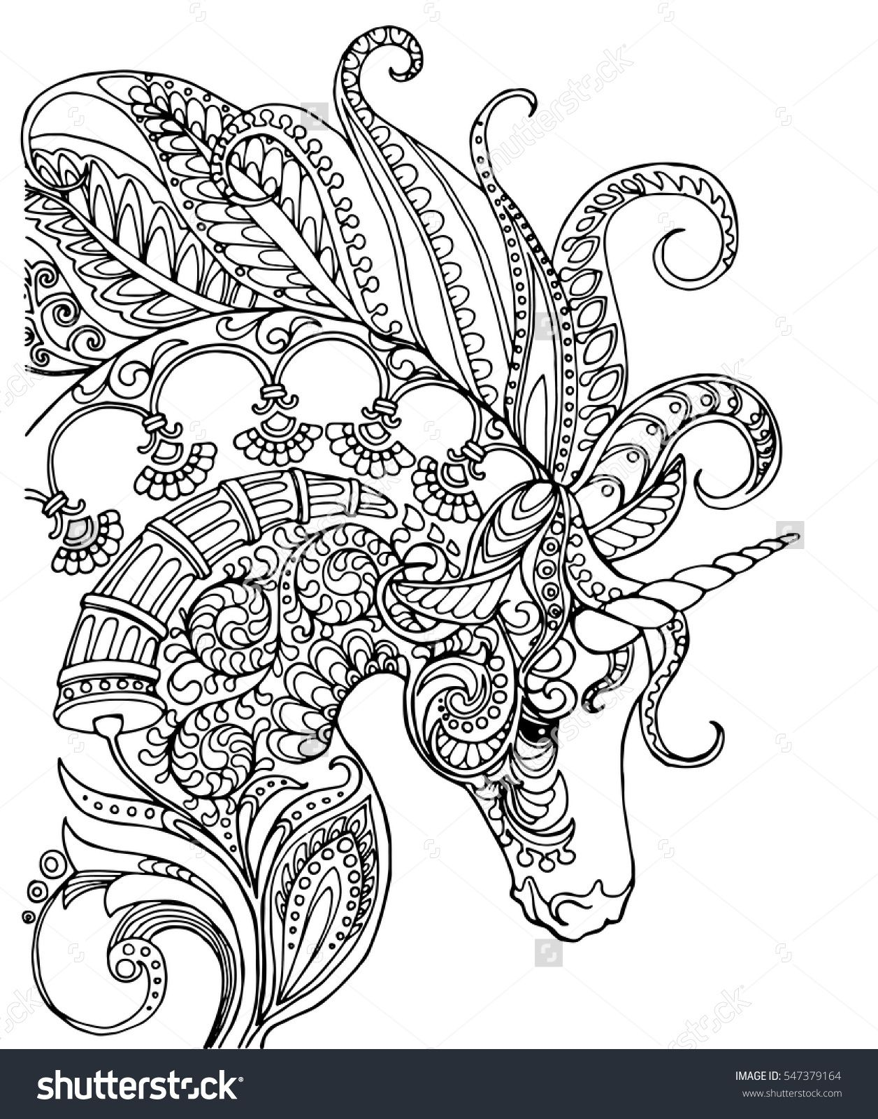Elegant Zentangle Patterned Unicorn Doodle Page For Adult Colouring Book Vector Design