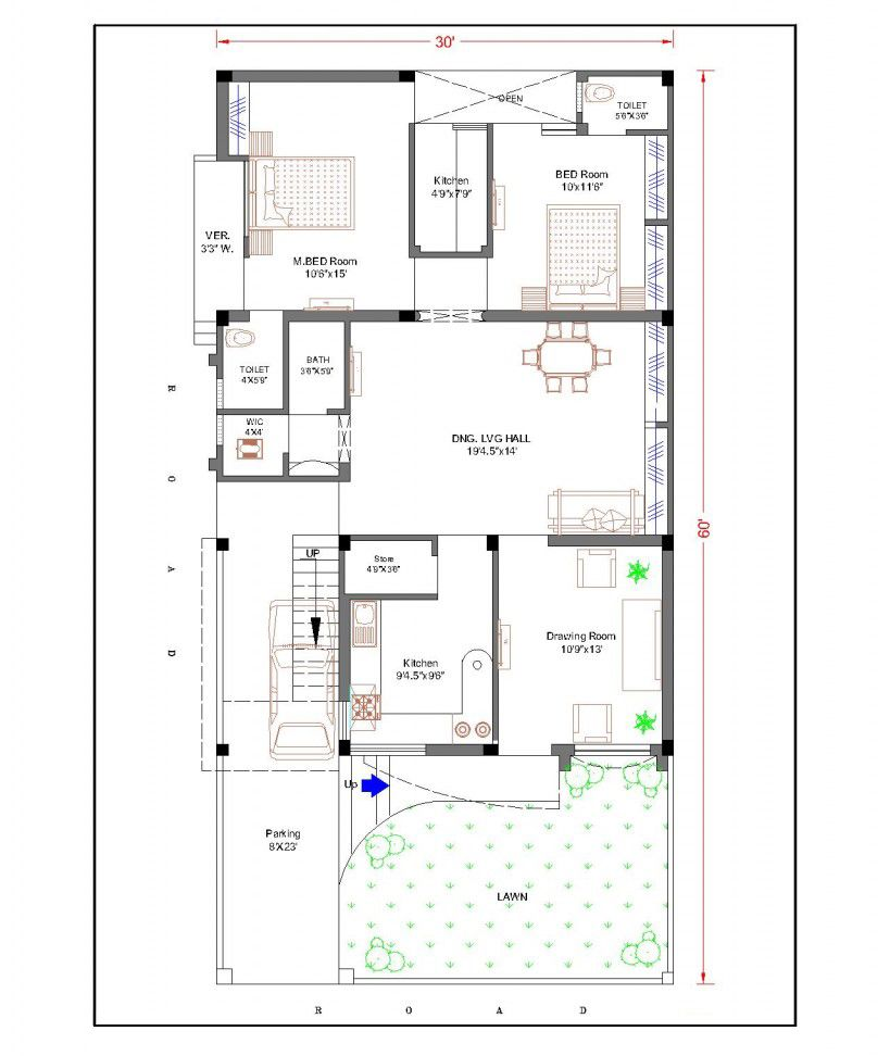 Duplex house plans for 30x60 site google search chhaya for House plan for 20x40 site