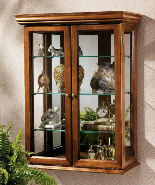 Design Toscano Wall Curio Cabinet Display Case Glass Doors Shelves