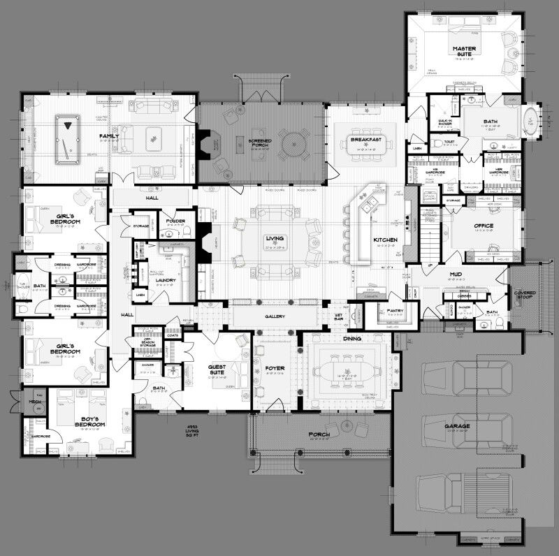 House Plan With Furniture Placement And Room Dimensions