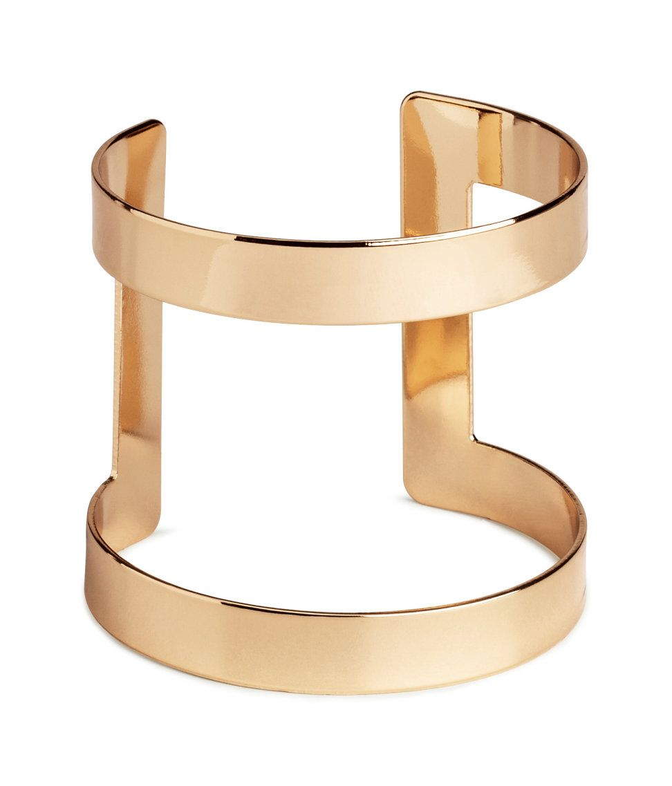 Wide gold bangle cuff with open design hum accessories my