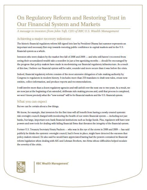 The Woo Group RBC Wealth Management Hong Kong USA On Regulatory Reform and Restoring Trust in Our Financial System and Markets