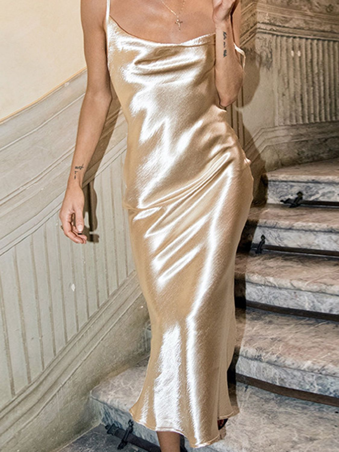 e906ce9458ec Golden Satin Look Open Back Chic Women Bodycon Cami Maxi Dress | Choies