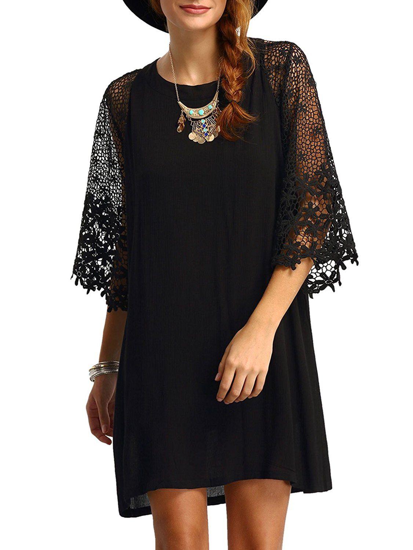 b644069261c Casual Crewneck Half Sleeve Summer Chiffon Tunic Dress