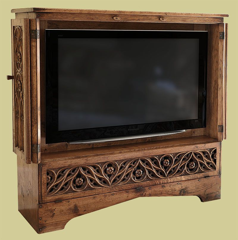 Hand Carved Oak Tracery Tv Cabinet Shown In Viewing Mode With Bi
