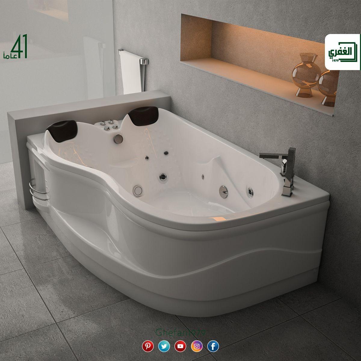 بانيو جاكوزي مجوز اكريلك Lgt صناعة تركية شركة الغفري الموصفات 12 عين ماتور 2 2 حصان انارة 2 مخدة سيفون Jacuzzi Bathroom Design Interior Deco