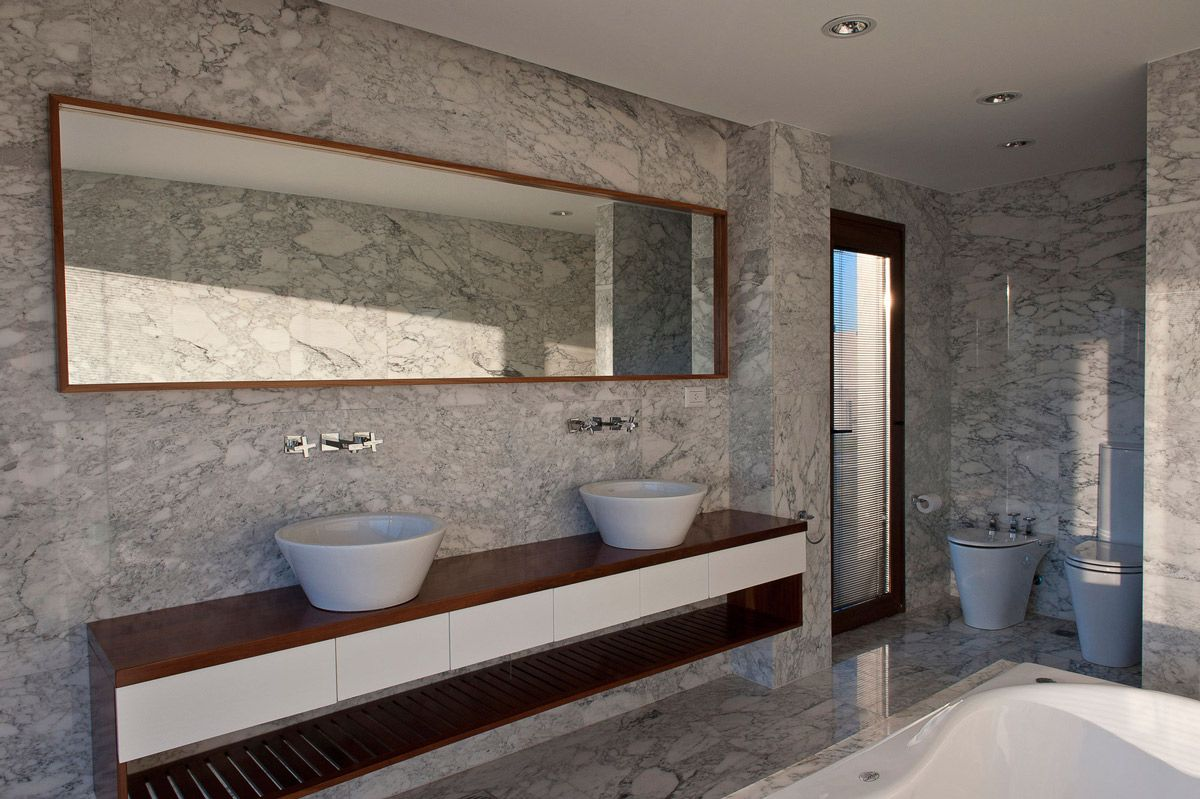 Grey Marble Bathroom, Modern House in Buenos Aires, Argentina .