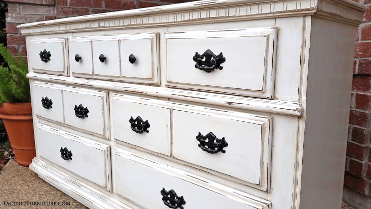 Dresser In Distressed Off White Tobacco Glaze White Distressed