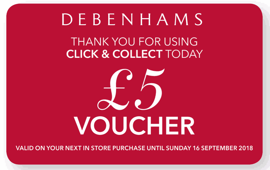 Get A Free 5 Debenhams Voucher When You Use Debenhams Click