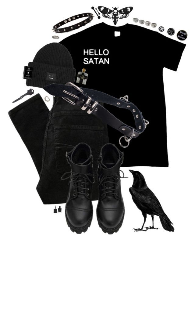 """lullaby"" by xievas ❤ liked on Polyvore featuring Acne Studios, Mister, ASOS, Nobody Denim, black, goth and thecure"