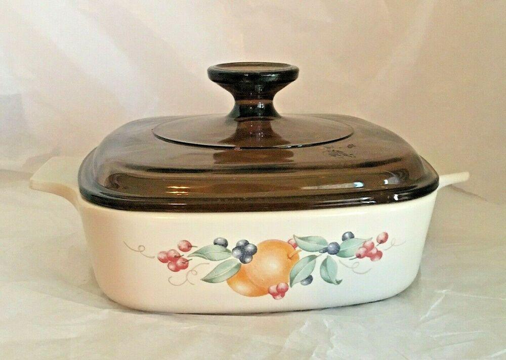 Corning Ware Abundance Set of 2 Casserole 2 Pyrex Lids Vintage Corningware Glass Cookware Dishes