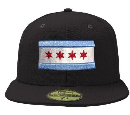 45dc0cd3c6eab Amazon.com   City of Chicago Black 59Fifty Flag Hat by New Era   Sports Fan Baseball  Caps   Sports   Outdoors Size 7 1 8