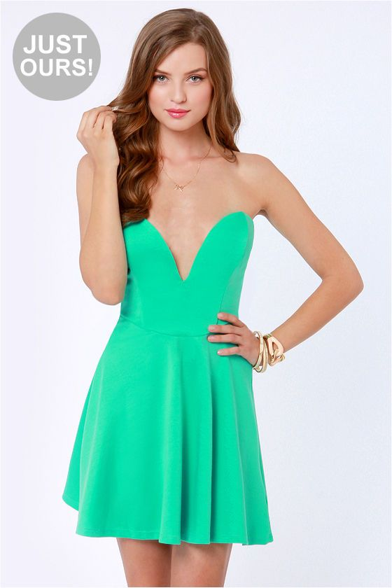Lulus Exclusive Flare Share Mint Green Strapless Dress At