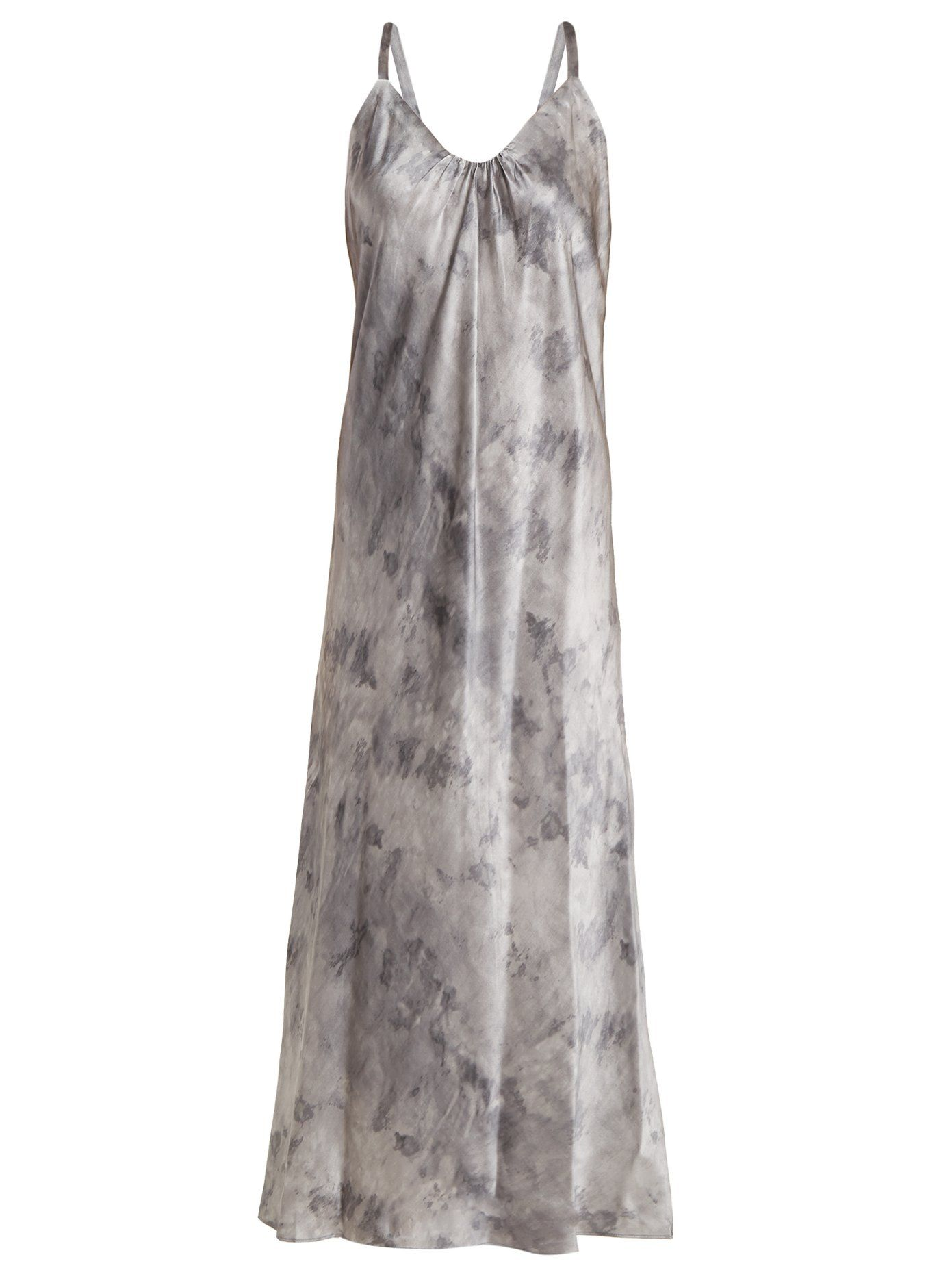 Marbled-print V-neck silk-satin midi dress Vince mHgNDH4p