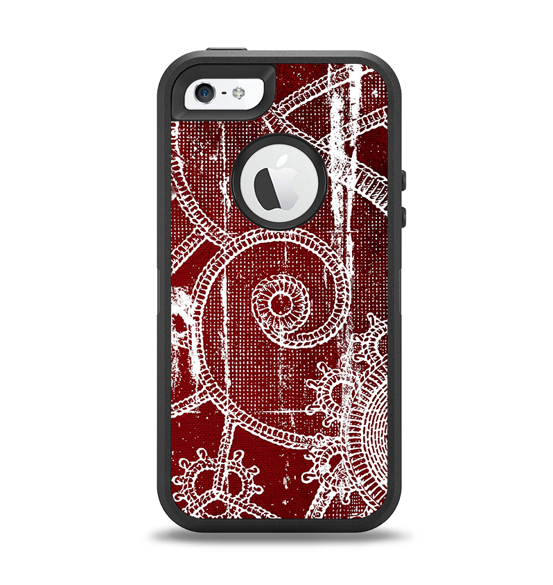 The Grungy Red & White Stitched Pattern Apple iPhone 5-5s Otterbox Defender Case Skin Set