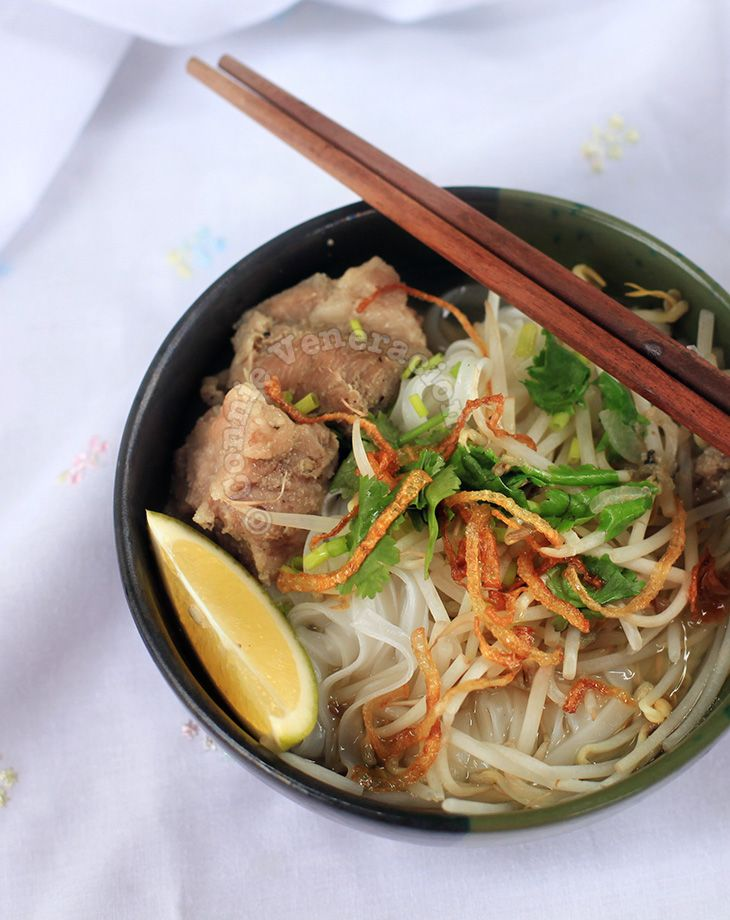 In this Vietnamese pork ribs and noodle dish, pork ribs are marinated in traditional Vietnamese seasonings then slow cooked for a richly flavored broth.