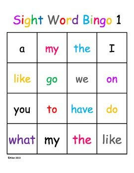 Kindergarten Sight Word Dolch Bingo Beginner Level 1 Harcourt Trophies