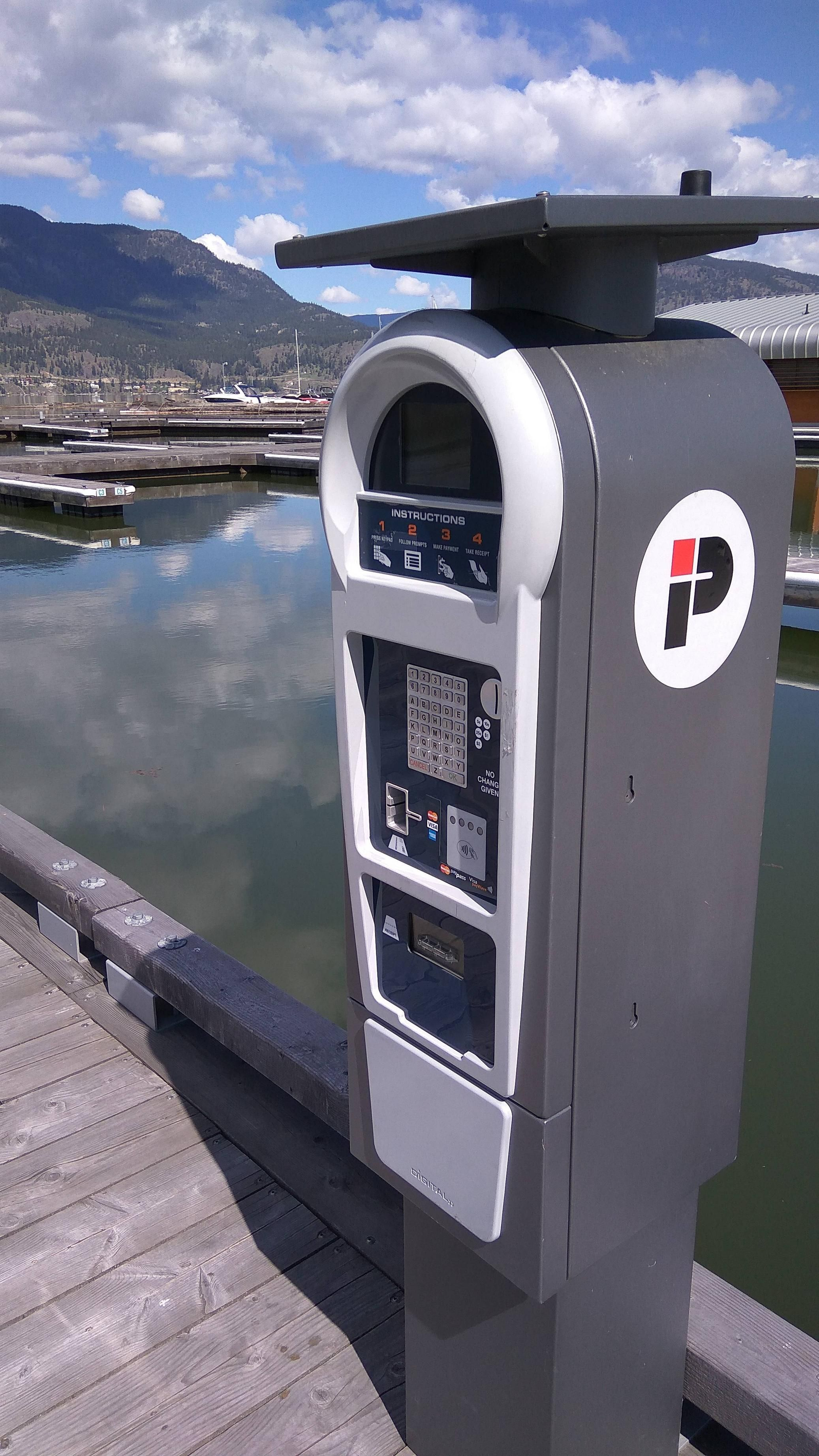This boat marina has a parking meter for the boats
