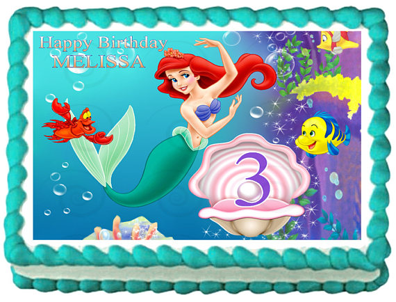 THE LITTLE MERMAID Ariel Image Edible Cake Topper