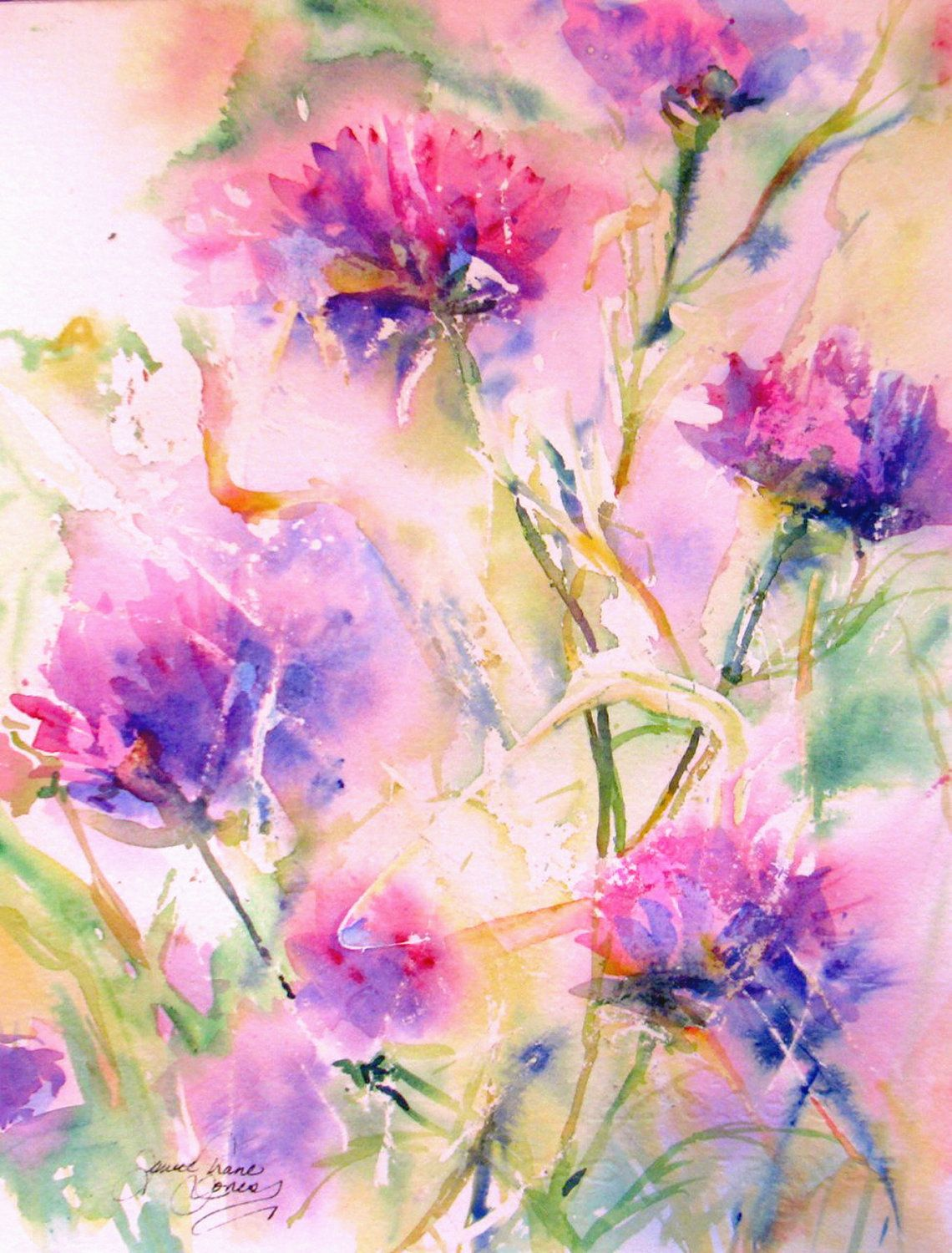 Abstract Flower Original Watercolor Painting Modern Contemporary