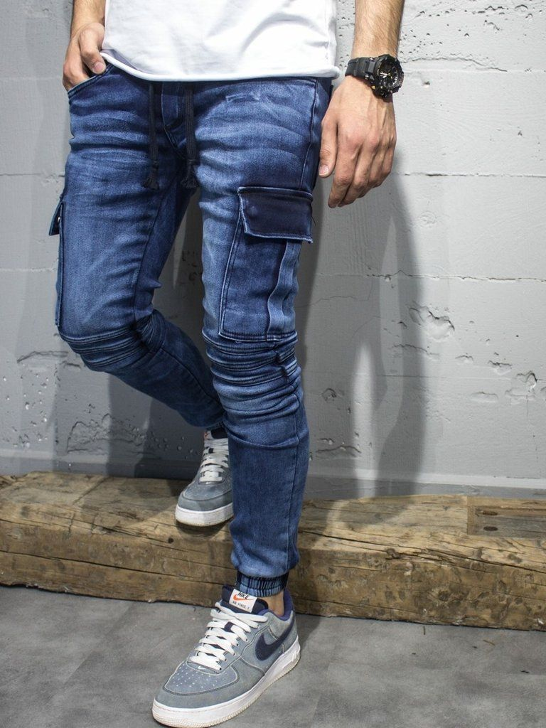 Mens jeans design legends jeans - 2y Men Slim Fit Cargo Denim Jogger Jeans Blue