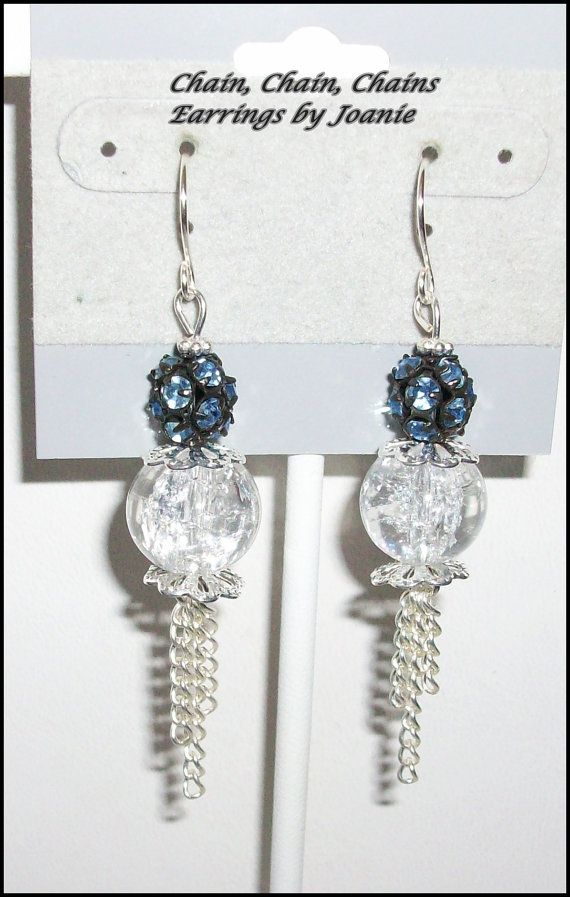 Crackle Bead & Blue Rhinestone Earrings with by ChainChainChains