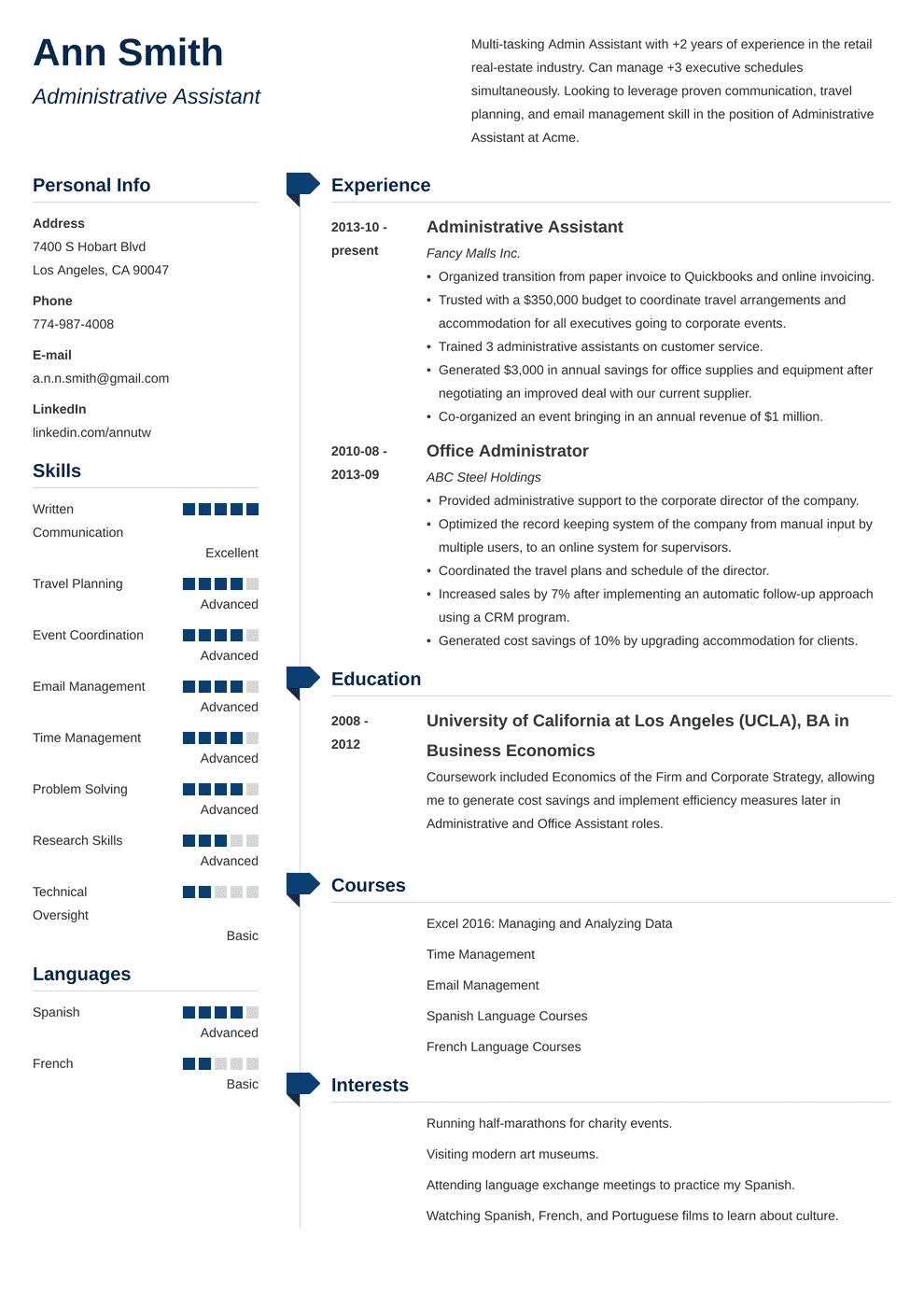administrative resume template administrative resume