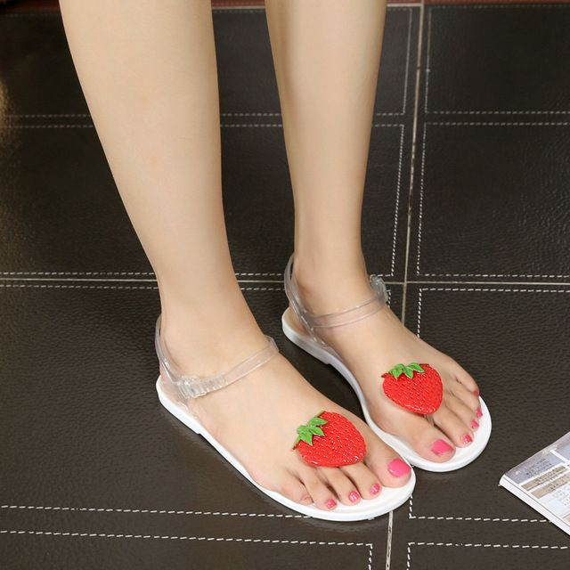 e09b62014e07 Jelly Strawberry Korea Transparent Plastic Flat Bottom Toe Beach Shoes