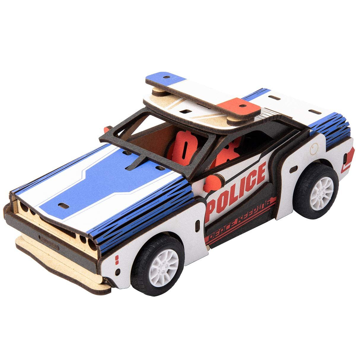 RoWood Wooden Toys Police Car Building Kits for Kids Inertia Power Vehicles Gift for Boys /& Girls Aged 5 Years Old and Up